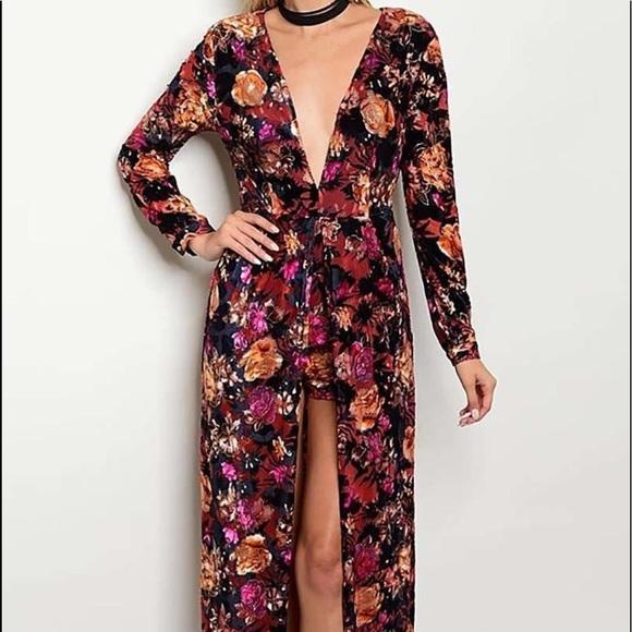 a44e9626165 Floral print romper maxi dress